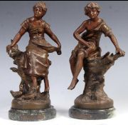 Pair of painted bronzed spelter figures entitled fermiere and bonne peche