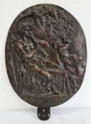 C19th bronze relief plaque of a satyr and a cherub