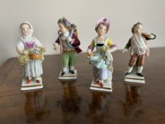 Set of four miniature porcelain figures by sitzendorf