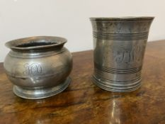 Two pieces of pewter both initialled