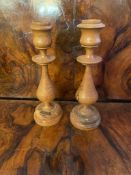 Pair of small olive wood candlesticks
