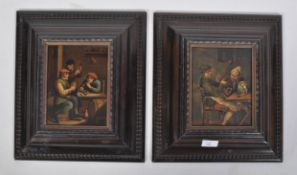 After David Teniers a pair of paintings of tavern scenes