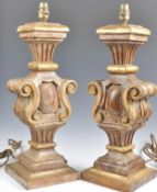 Pair of Italian carved polychrome lamps