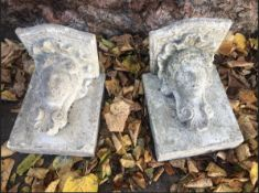 Pair of stone cast corbels