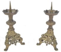 A pair of C19th french Altar Pricket sticks