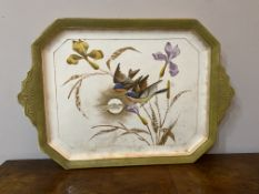 Large C19th pottery tray with birds
