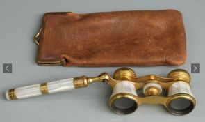 Pair of mother of Pearl opera glasses in kid-glove case