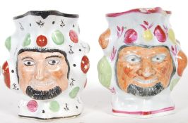 Two prattware satyr mask jugs