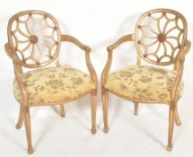 Pair of cartwheel back armchairs