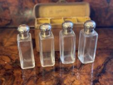 Travelling or campaign four bottle flasks in leather container
