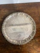 Edwardian Silver plated salver with Scalloped edges
