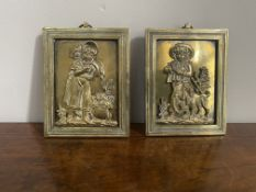 Pair of brass pictures
