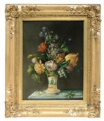 C19th oil painting of still life of flowers