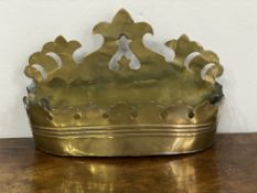 C19th brass fretwork wall mounted candle box