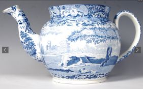 Oversized blue and white Teapot in Spode pattern