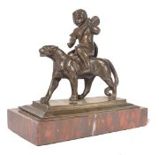 A bronze Grand Tour figurine / sculpture of an Egyptian warrior riding a Jaguar