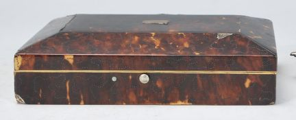 19th-century tortoiseshell and silver monogram cigarette box