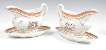 Pair of Samson engraved gravy boats and stands
