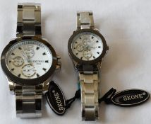 Skone his and hers Watches White Dial Silver Strap
