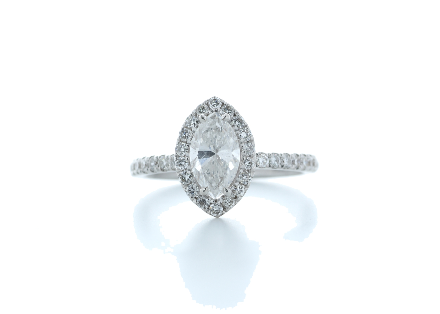 18ct White Gold Marquise Diamond With Halo Setting Ring 1.51 (1.02) Carats