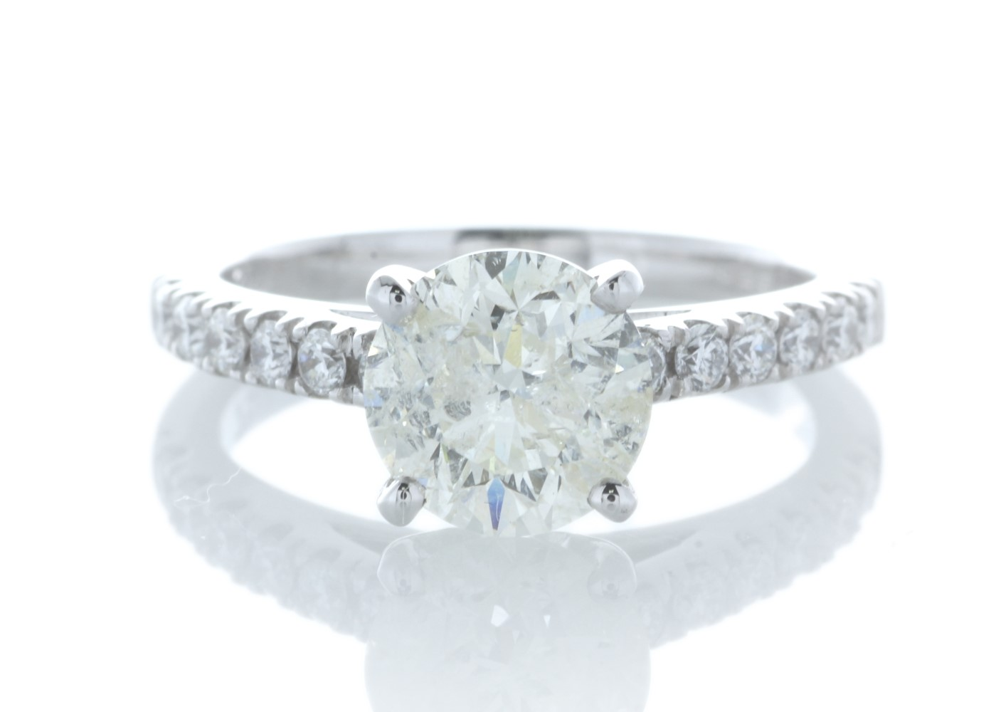18ct White Gold Stone Set Shoulders Diamond Ring 1.92 Carats