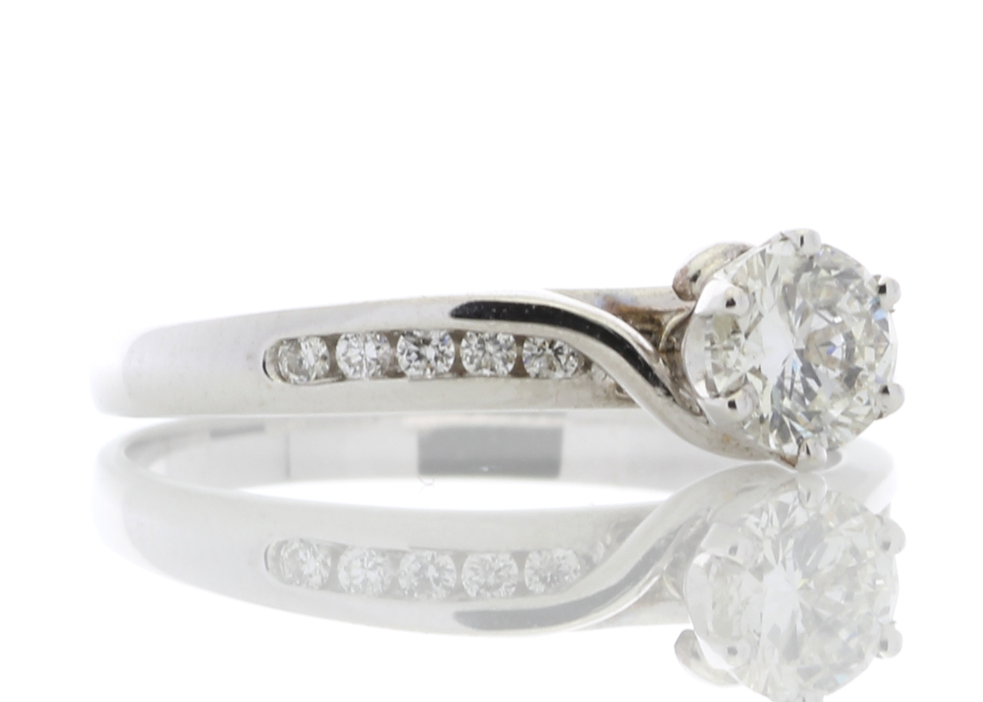 18ct White Gold Diamond Ring With Stone Set shoulders 0.61 Carats - Image 4 of 4