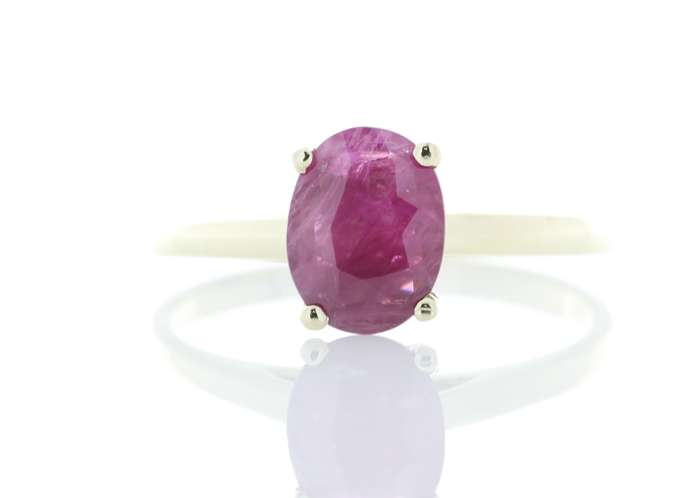 9ct Yellow Gold Oval Cut Ruby Ring 1.24 Carats