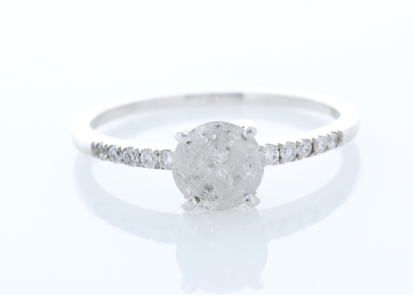 18ct White Gold Stone Set Shoulders Diamond Ring 1.05 Carats - Image 2 of 4