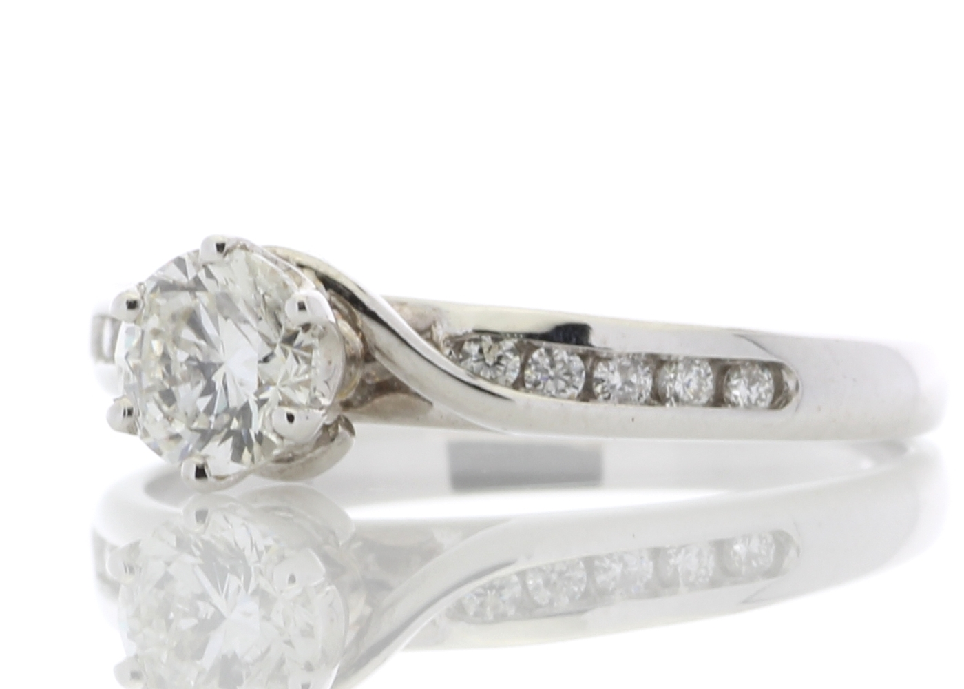 18ct White Gold Diamond Ring With Stone Set shoulders 0.61 Carats - Image 2 of 4