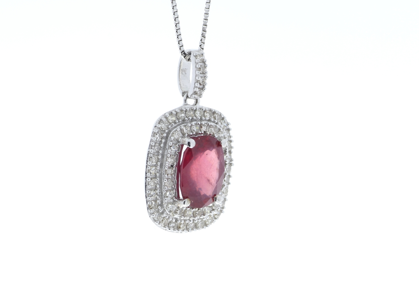 9ct White Gold Oval Ruby And Diamond Cluster Pendant 0.28 Carats - Image 2 of 6
