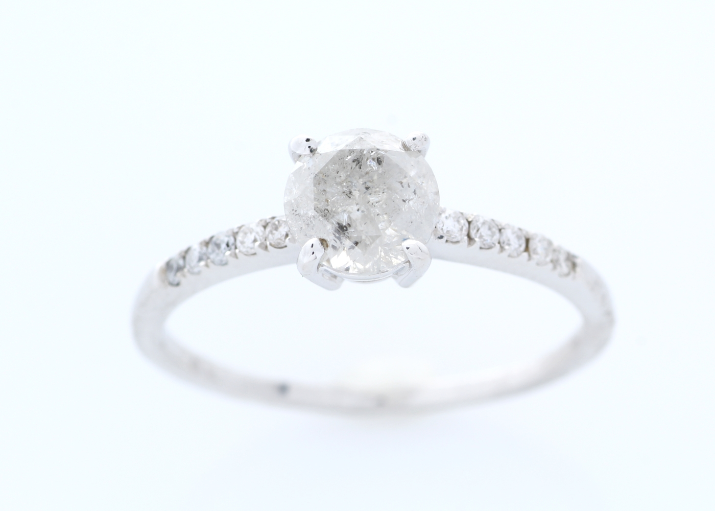 18ct White Gold Stone Set Shoulders Diamond Ring 1.05 Carats