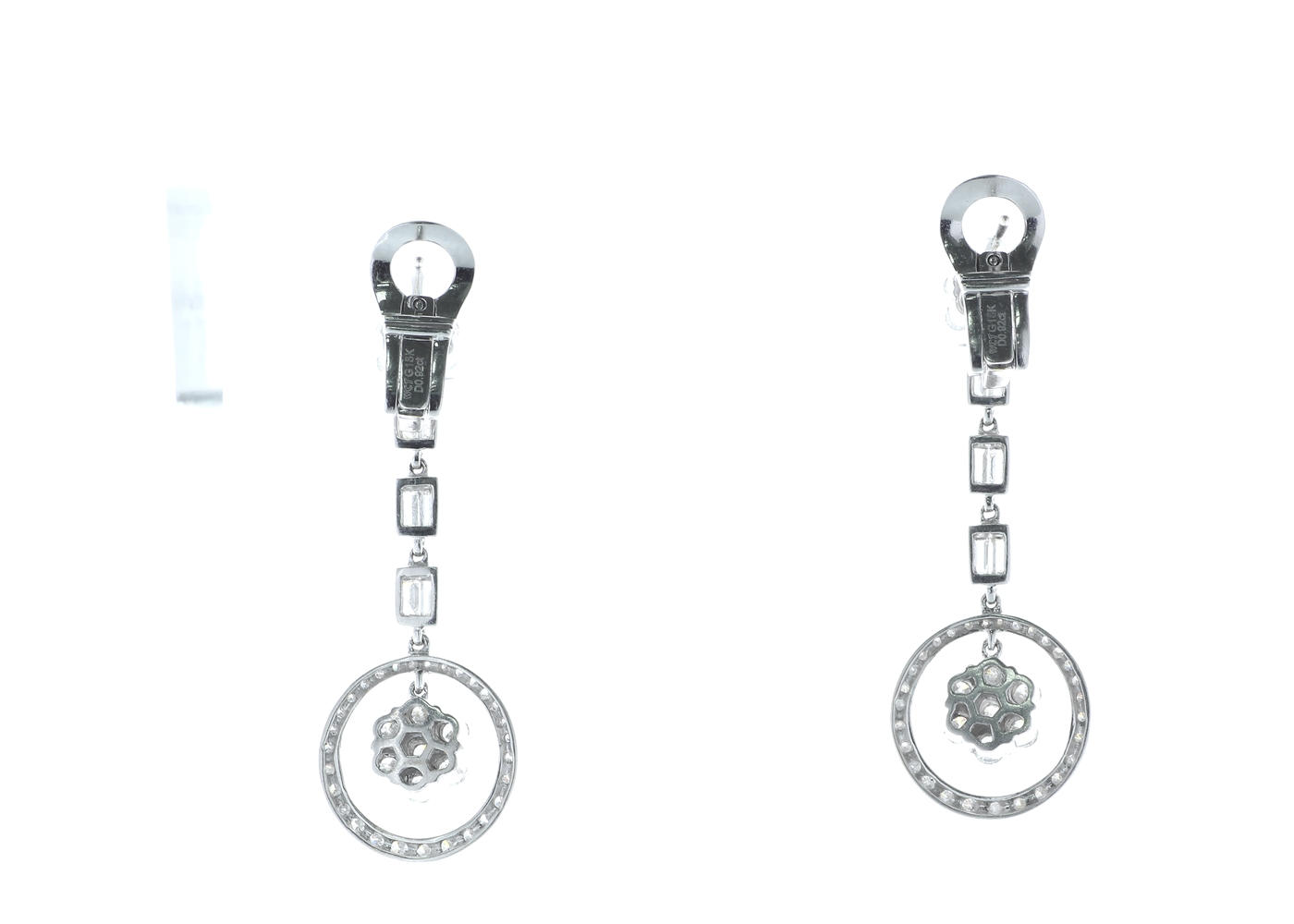 18ct White Gold Diamond Drop Cluster Earrings 1.84 Carats - Image 3 of 4