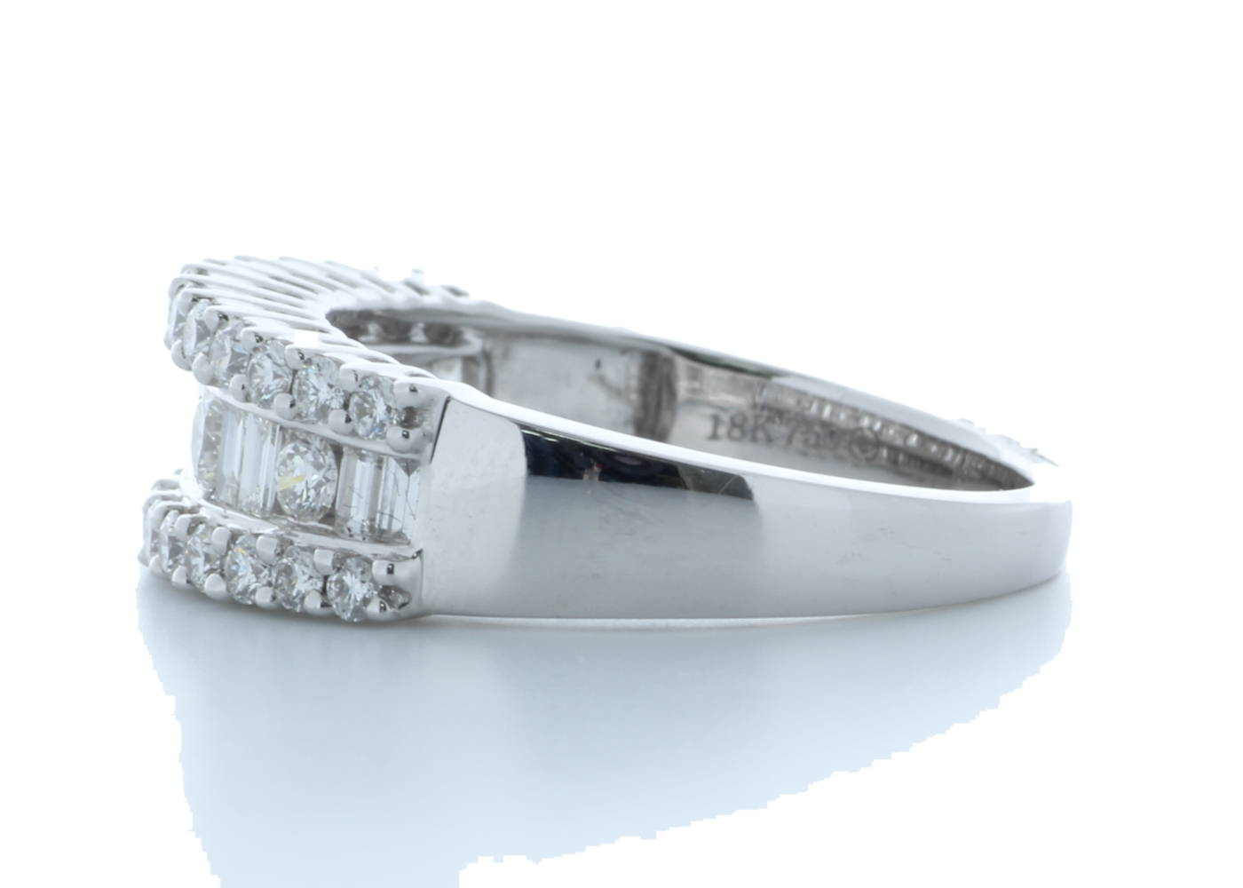 18ct White Gold Channel Set Semi Eternity Diamond Ring 0.95 Carats - Image 2 of 4