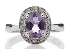 9ct White Gold Cluster Diamond Amythyst Ring
