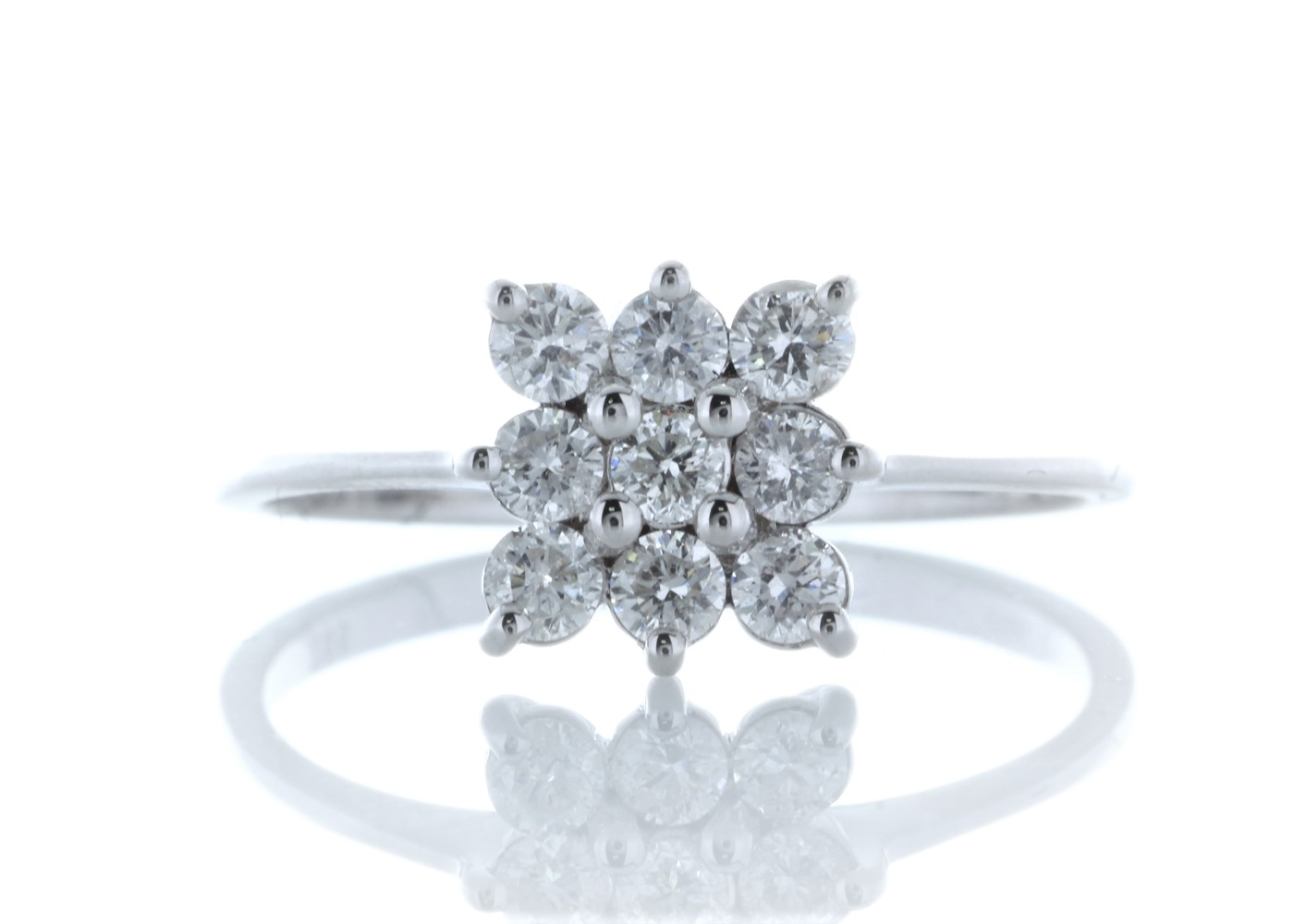 18ct White Gold Fancy Cluster Diamond Ring 0.45 Carats