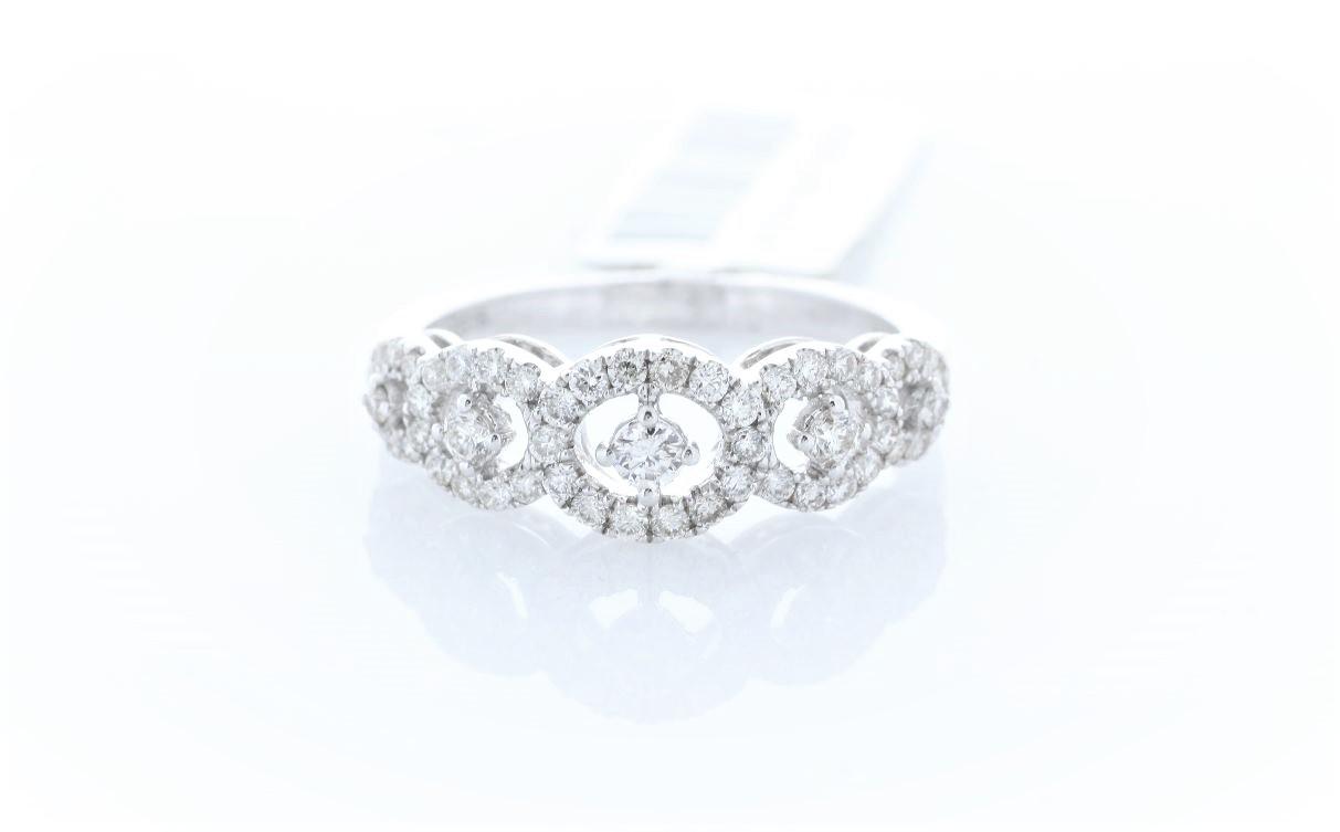 18ct White Gold Half Eternity Diamond Ring 0.57 Carats