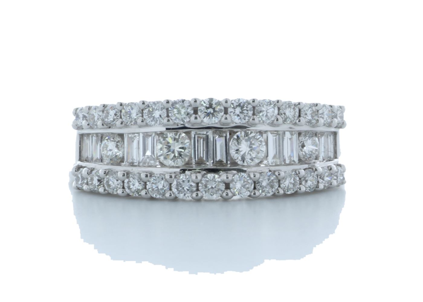18ct White Gold Channel Set Semi Eternity Diamond Ring 0.95 Carats