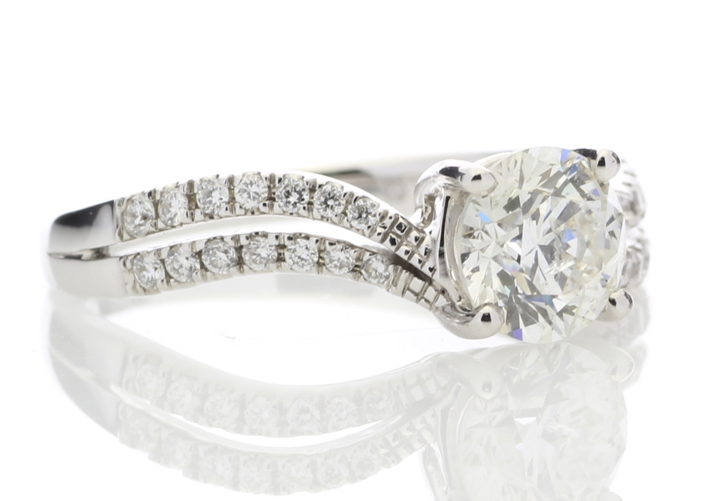 18ct White Gold Solitaire Diamond Ring With Two Rows Shoulder Set 1.31 Carats - Image 4 of 5