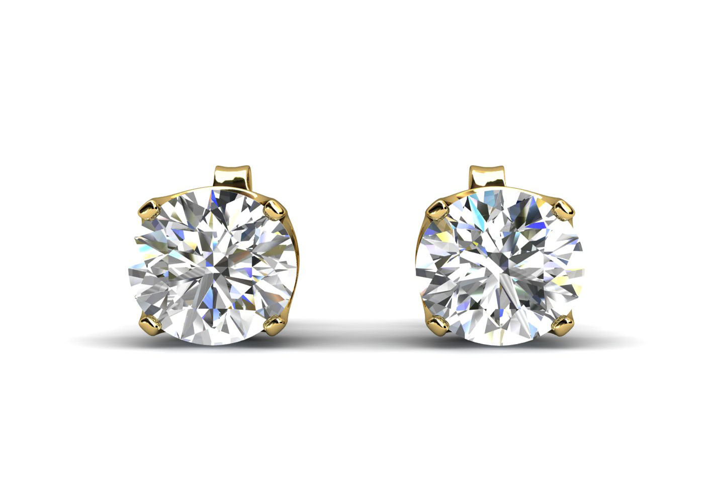 9ct Yellow Gold Claw Set Diamond Earrings 0.33 Carats