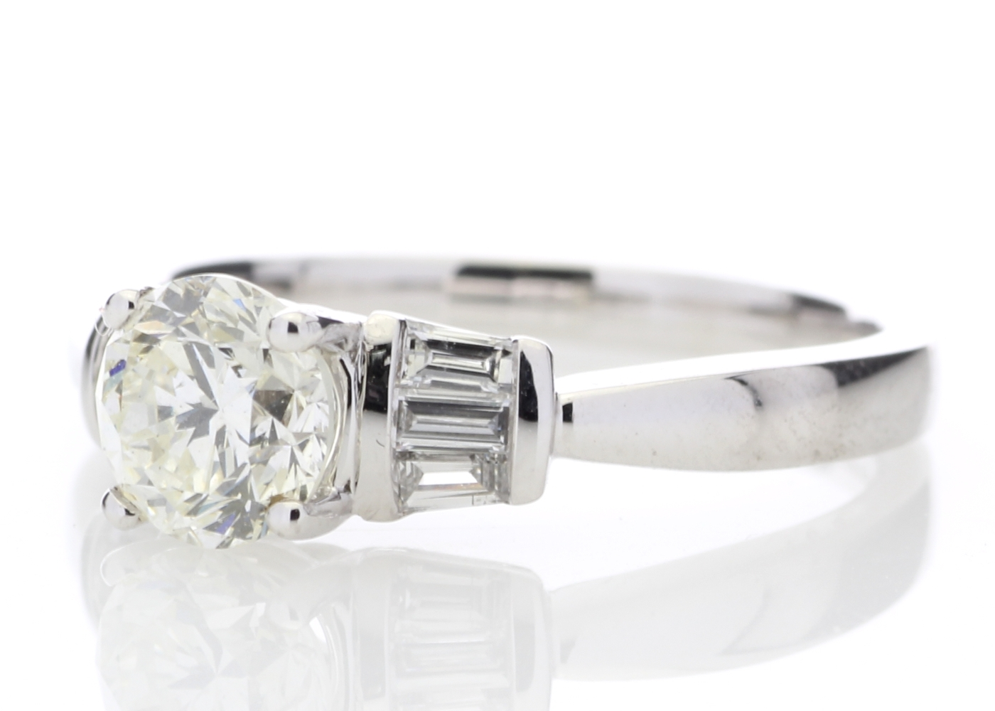 18ct White Gold Baguette Set Shoulders Diamond Ring 1.26 Carats - Image 2 of 4