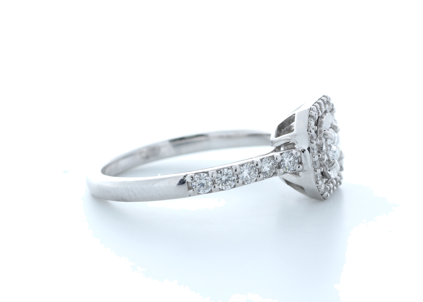 18ct White Gold Diamond Halo Setting Ring 0.55 Carats - Image 4 of 5