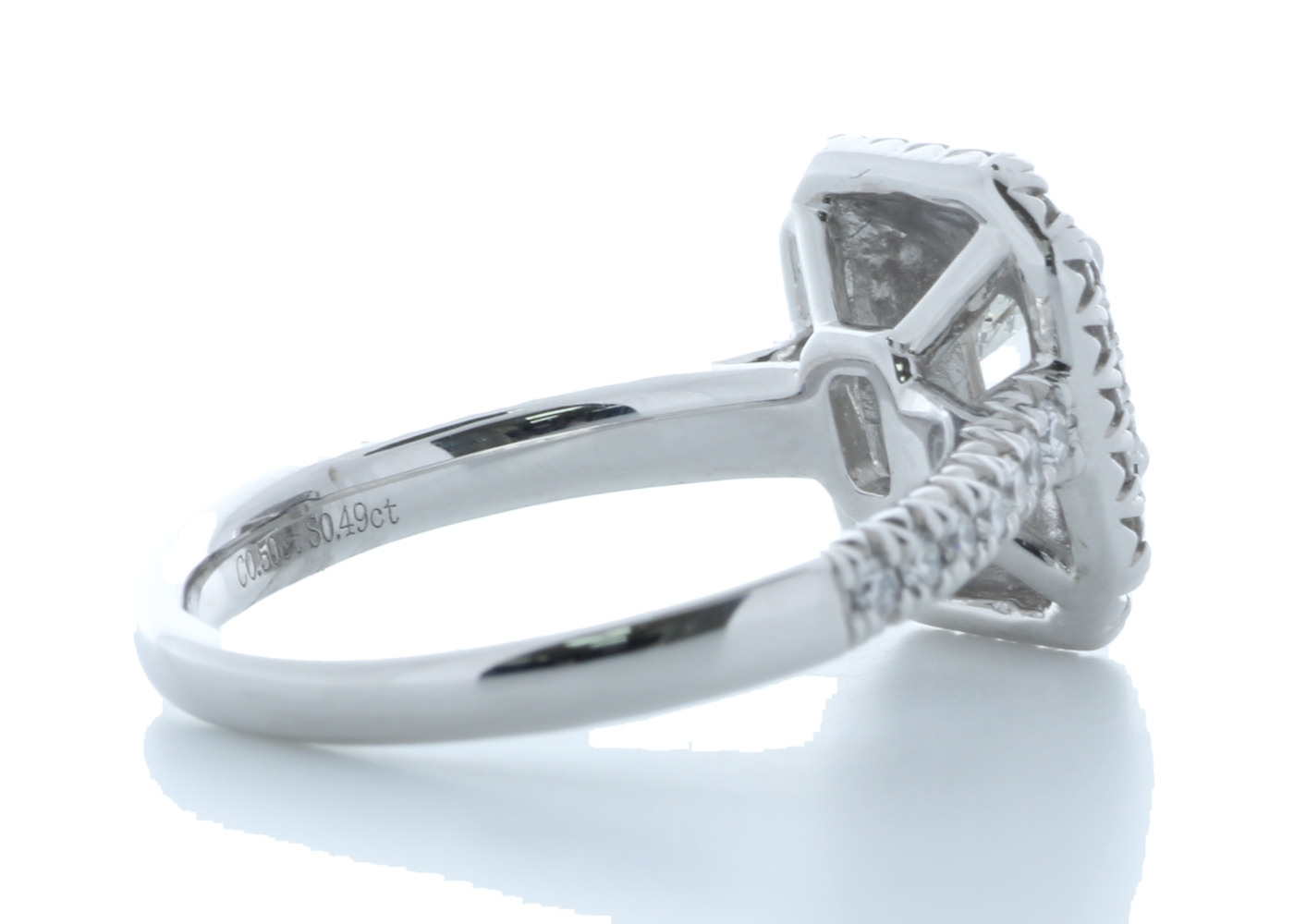 Platinum Single Stone With Halo Setting Ring 0.99 Carats - Image 4 of 4