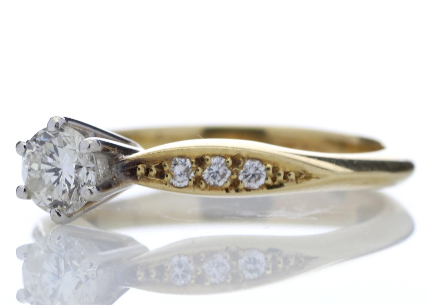18ct Stone Set Shoulders Diamond Ring 0.42 Carats - Image 2 of 4