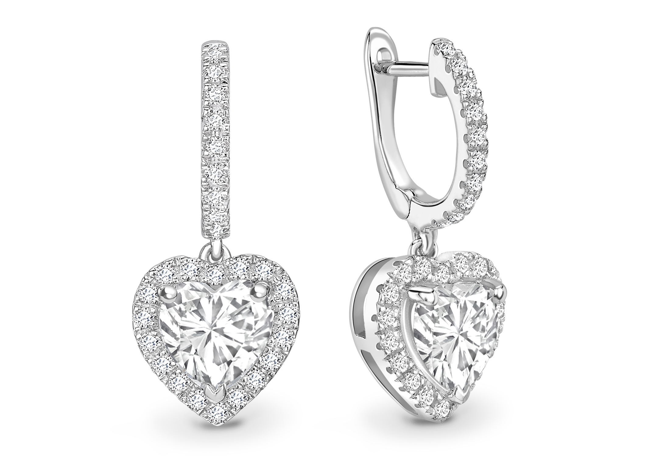 18ct White Gold Heart Shape Halo Drop Earring 1.74 Carats