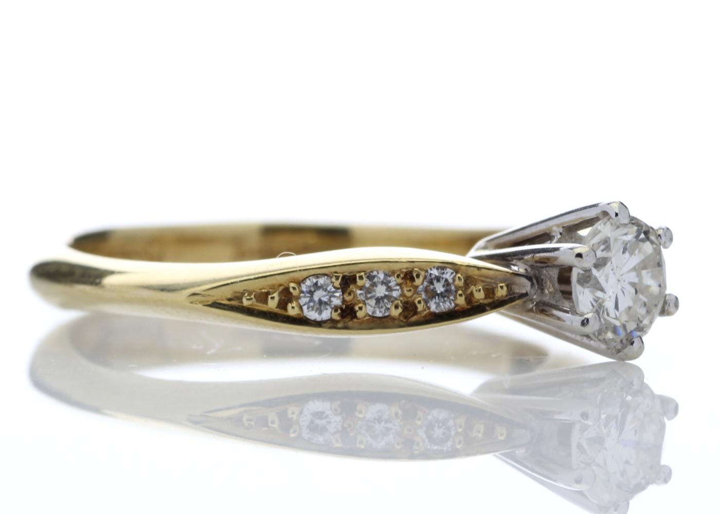 18ct Stone Set Shoulders Diamond Ring 0.42 Carats - Image 4 of 4