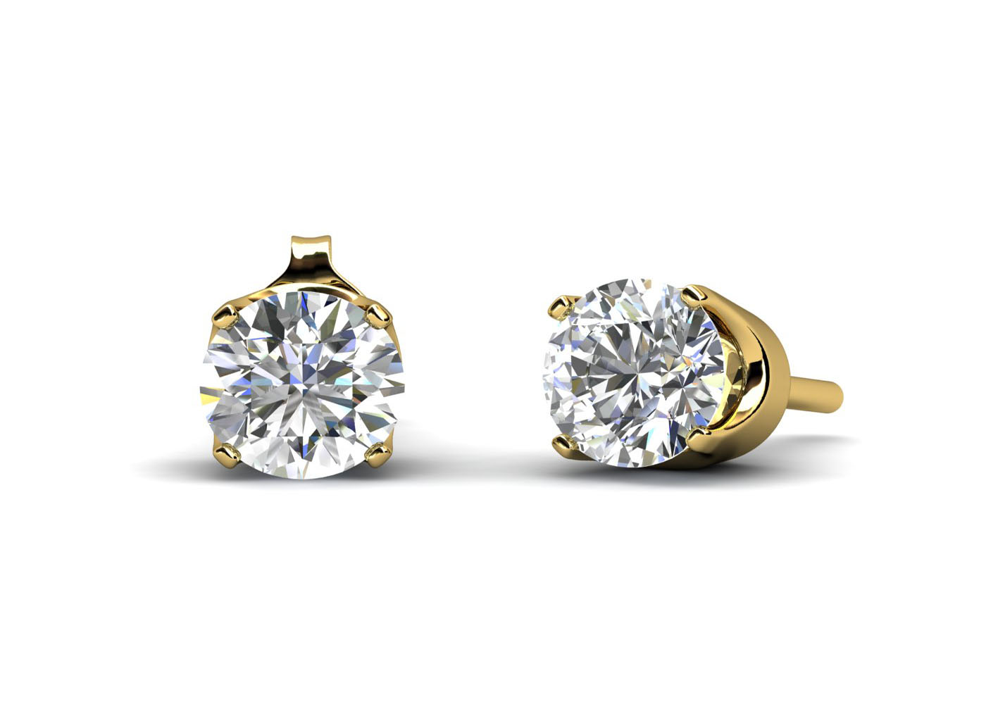 9ct Yellow Gold Claw Set Diamond Earrings 0.33 Carats - Image 2 of 4