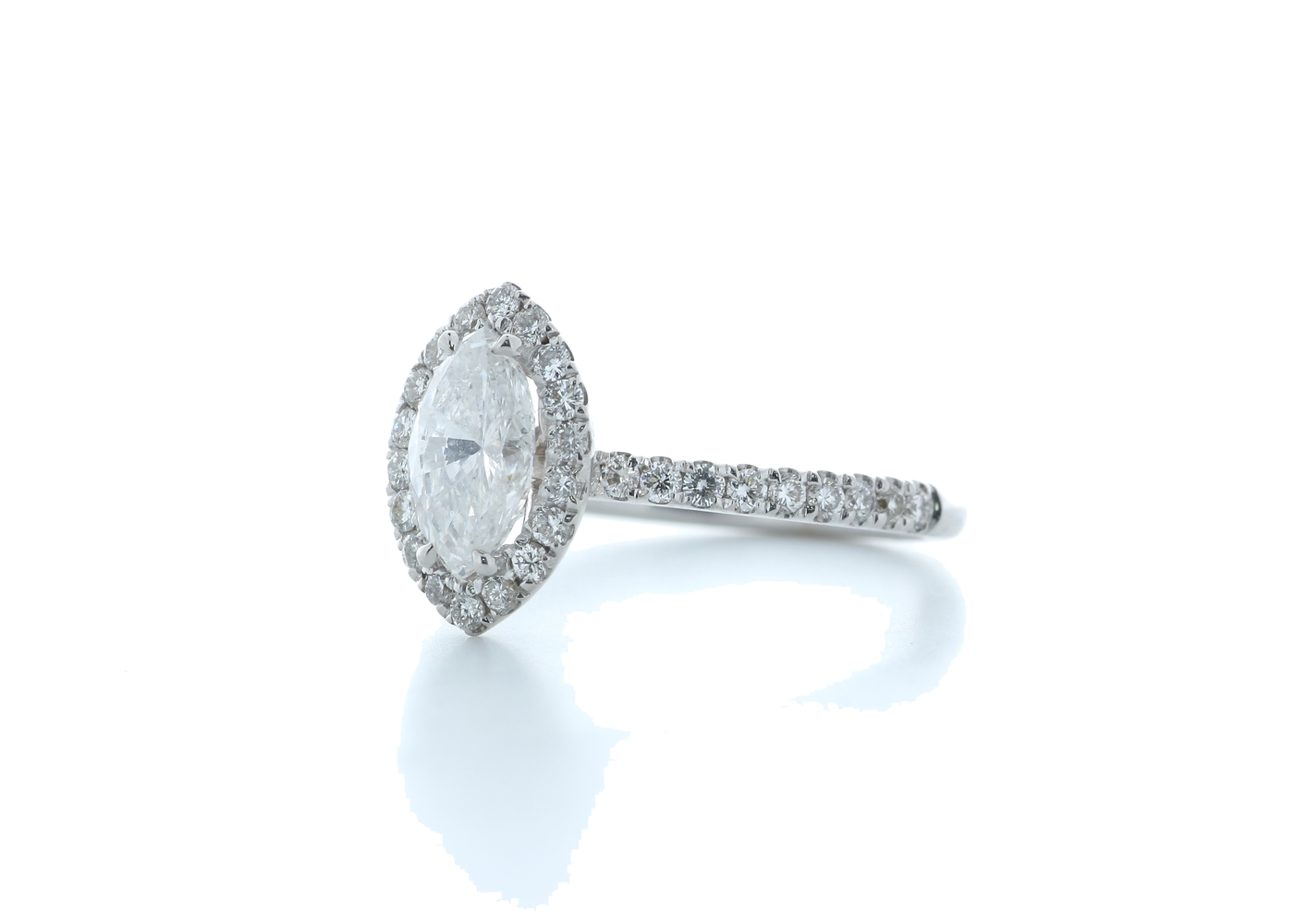 18ct White Gold Marquise Diamond With Halo Setting Ring 1.51 (1.02) Carats - Image 2 of 5