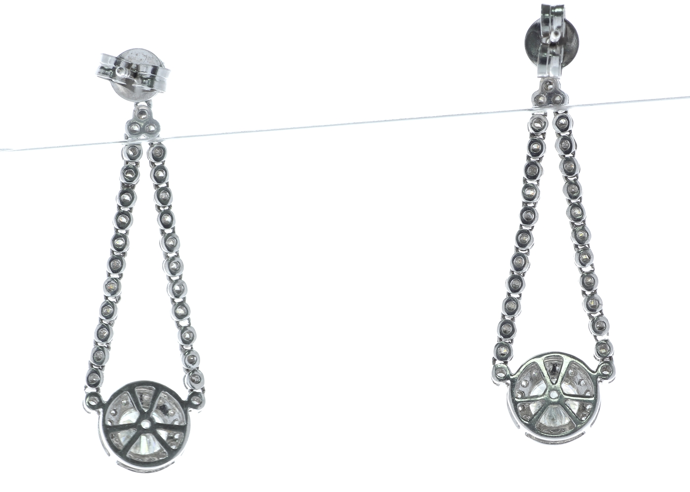 18ct White Gold Diamond Halo Drop Earrings 2.20 Carats - Image 3 of 4