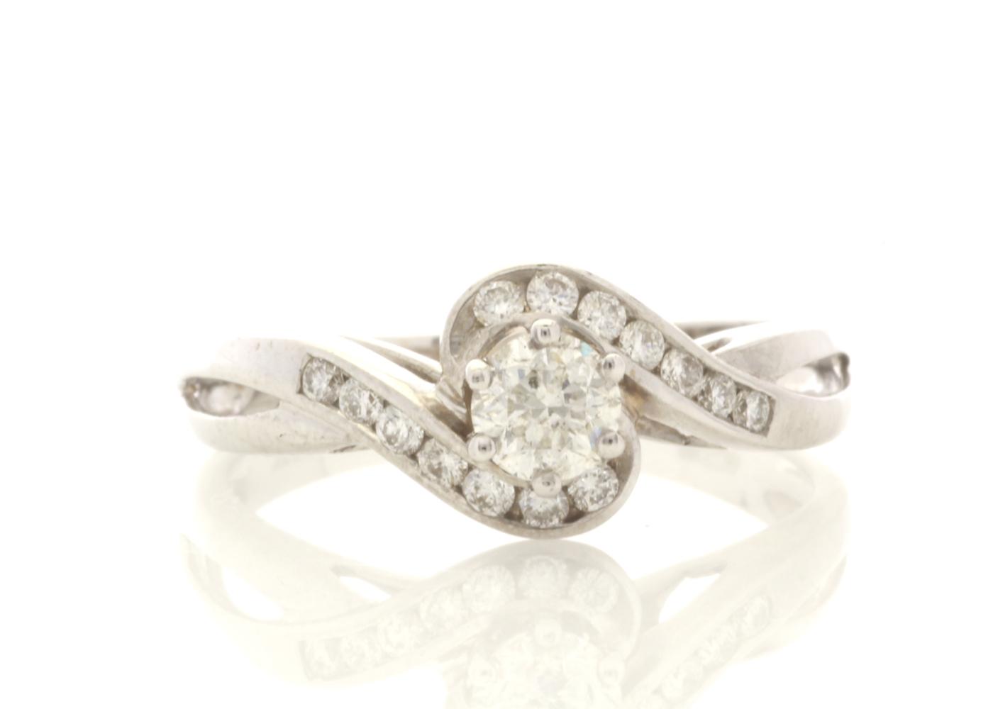 18ct White Gold Stone Set Shoulders Diamond Ring 0.61 Carats