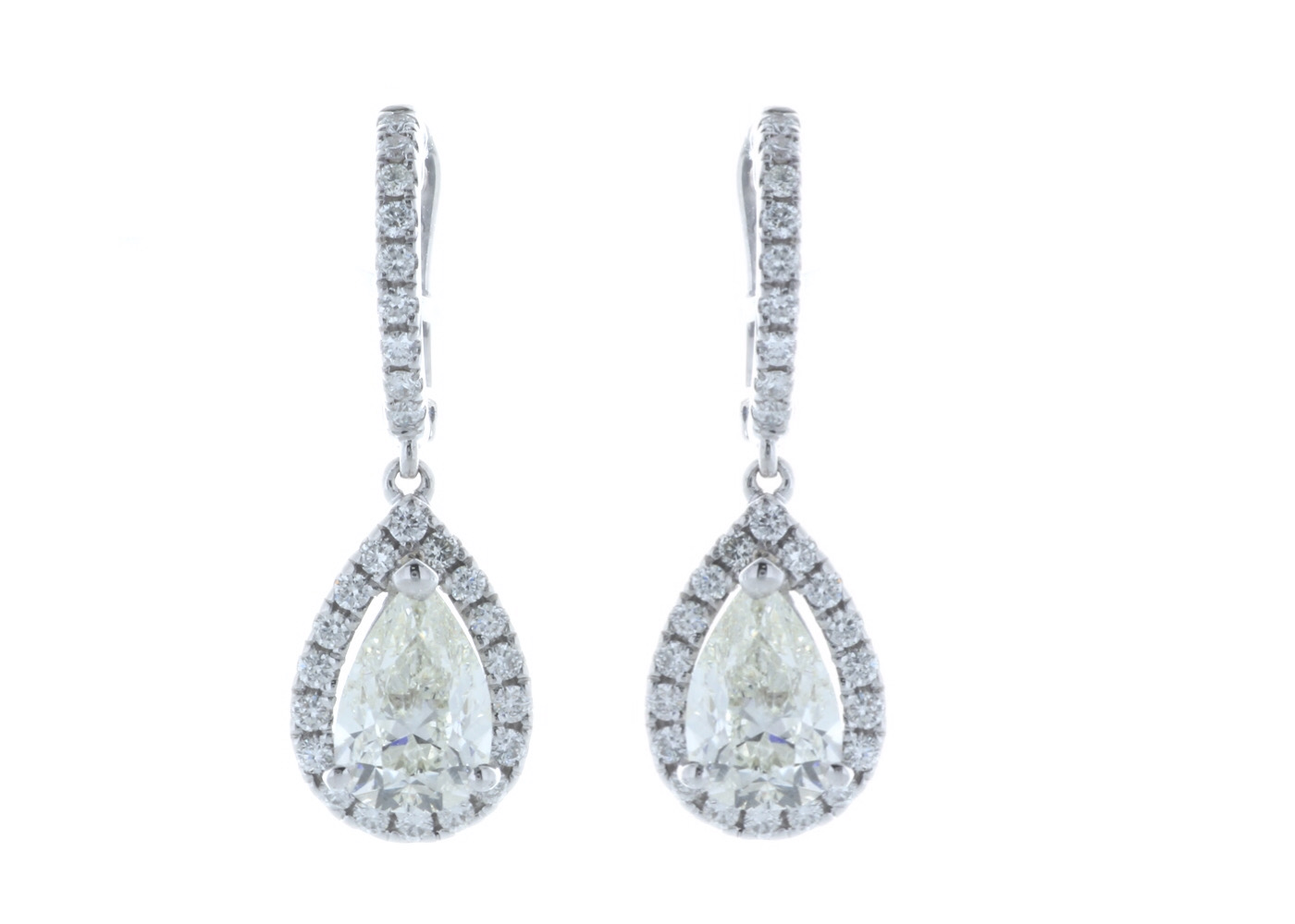 18ct White Gold Pear Shape Halo Drop Earring 2.47 Carats